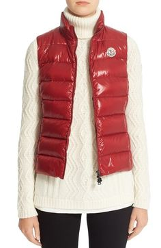 Moncler 'Ghany' Water Resistant Shiny Nylon Down Puffer Vest available at #Nordstrom