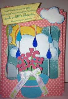 Card made with Dotty For You paper for the Creative Cutter Room Challenge-April Showers!!! Purchase it from my Close To My Heart store! www.craftinandstampin.myctmh.com! $5 with a purchase of $35 or more!!! LIMITED TIME ONLY!!