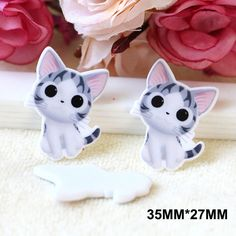 50pcs/lot 35*27MM Kawaii Cartoon Kitten Cat Flatback Resin Planar Hair Bow DIY Craft For Home Decoration Accessories DL-788