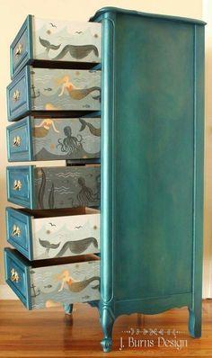 DIY Sparkling Mermaid Lingerie Chest Decupage Furniture, Painted Wood Furniture, Baby Bedroom Furniture, Wallpaper On Furniture, Diy House Furniture, Ikea Bedroom Decor, Diy Furniture Painting, Diy Furniture Upcycle, Bedroom Themes