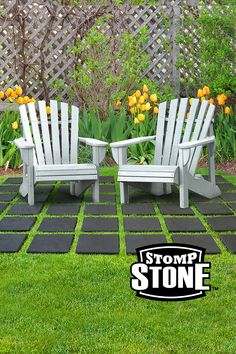 Perfect for creating a walkway, a no-mow area for outdoor furniture — even a place to play hopscotch! Made from up to 98% recycled materials with a textured, nonslip surface. Outdoor Chairs, Outdoor Furniture Sets, Outdoor Decor, Garden Pavers, Hopscotch, Recycled Rubber, Garden Accessories, Walkway, Recycled Materials