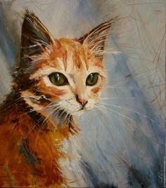 Купить Картина маслом Рыжий Кот. Авторская картина масло, холст в интернет магазине на Ярмарке Мастеров