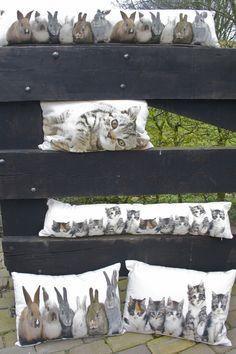 tochtkussen canvas konijntjes - Canvas dieren - Kussens