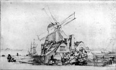 The bastion in Amsterdam - Rembrandt