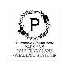 #Rustic Wedding Monogram   Boho Floral Wreath Self-inking Stamp - #GroomGifts #Groom #Gifts Groom Gifts #Wedding #Groomideas