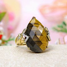 14k Yellow Gold Diamond, Hologram Tiger Eye Ring