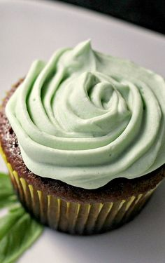 chocolate cupcakes with basil buttercream frosting