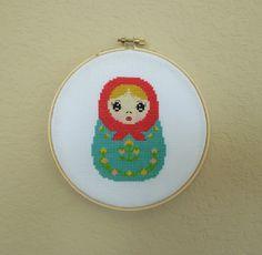 RUSSIAN DOLL Cross Stitch Pattern Nesting por HanksPatternPlace
