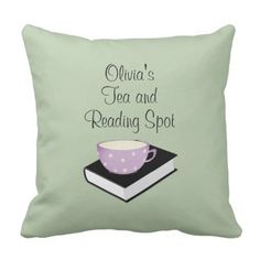 Personalized Tea and Reading Spot Accent Pillow - home gifts ideas decor special unique custom individual customized individualized