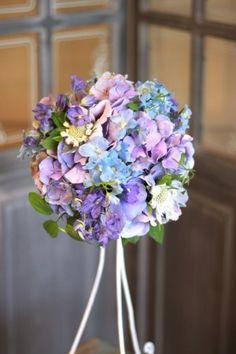 花どうらく/ウェディングブーケ/hanadouraku/http://www.hanadouraku.com/bouquet/wedding/アジサイ/ラウンドブーケ/natural/ナチュラル/サムシングブルー/紫/デルフィニウム