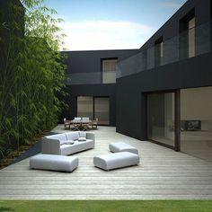 planter des bambous, jolis bambous verts, extérieur moderne