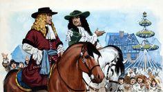 Angus McBride - Carlos II de Inglaterra en las fiestas de Mayo de Londres.