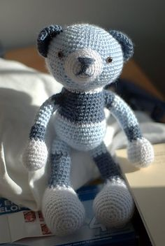 Crochet teddy bear pattern and it's stripey! Definitely going to do this one