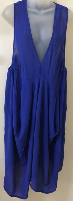 63698e581ff03f TS TAKING SHAPE Blue Scoop Front Angled Tunic Dress -16- Exc Con REDUCED #