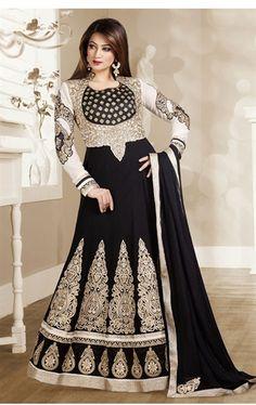 Gratifying Black and Off White Designer Anarkali Suit
