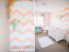 with glitter in her eyes: Ellia's Nursery, pink chevron wall, pink and aqua nursery