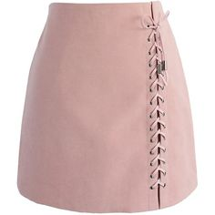 Chicwish Lace-up Tribe Bud Skirt in Pink ($41) ❤ liked on Polyvore featuring skirts, mini skirts, bottoms, saias, faldas, pink, tribal print mini skirt, pink mini skirt, pink skirt and short suede skirt
