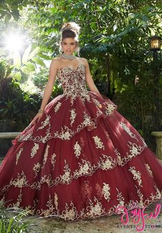 The Mori Lee Collection offers elegant and colorful quinceanera dresses and vestidos de quinceanera. These 15 dresses are perfect for your quince party! Red Ball Gowns, Tulle Ball Gown, Ball Dresses, Prom Dresses, Wedding Dresses, Sparkly Dresses, Mexican Quinceanera Dresses, Mexican Dresses, Quinceanera Cakes