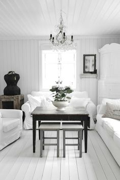 **love the white**     ...The white sofas and the dark contrast of the tables