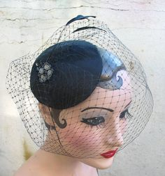 Weddings, Black Birdcage Veil, Feather Fascinator, Cocktail Hat, Rockabilly, Pin Up, Head Piece, 1940's,Batcakes Couture