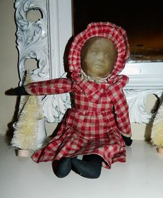 ANTIQUE Victorian Babyland Rag Doll Cloth Lithographed Face Black Americana    I think she is a photo face doll ??