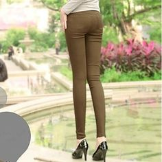 Women's Solid Neon Color Pencil High Waist Pants with Pocket - USD $ 10.19