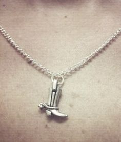 Sterling Silver Cowboy Boot Charm Necklace by OneSEC on Etsy, $9.00