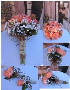 Rustic Coral Reef Bridal Bouquet Silk Coral Reef by BridalBouquets, $225.00 I like the burlap, twine, and buttons. White roses though.