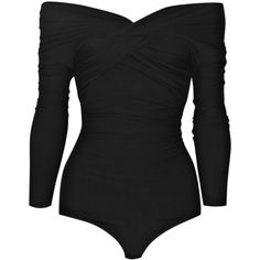 Carven Wool-blend stretch bodysuit ($415) ❤ liked on Polyvore featuring intimates, shapewear, tops, bodysuit, black and body