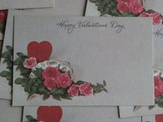 10 Happy Valentine's Day Vintage Florist Insert Mini Cards  - Hearts and Roses in retro style.  Use for crafting or as mini cards.
