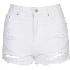 Topshop MOTO White Rip Mom Short Found on my new favorite app Dote Shopping White Ripped Shorts, High Waisted Ripped Shorts, Distressed High Waisted Shorts, White Ripped Jeans, Denim Cutoff Shorts, Waisted Denim, Distressed Denim, White Pants, Shorts Jeans Branco