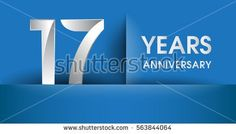 17 years Anniversary celebration logo, flat design isolated on blue background, vector elements for banner, invitation card and birthday party.