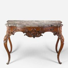 A German Rococo Console Table with a Gray and Brown Breccia Marble Top