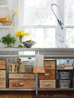 Repurposed Storage-Vintage Crates as Kitchen Storage BHG