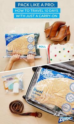 Remember to pack a Ziploc® Space Bag® Travel Bag in your suitcase for your next… Packing Tips, Travel Packing, Travel Bags, Suitcase Packing, Vacation Packing, Traveling Tips, Usa Travel, Places To Travel, Travel Destinations