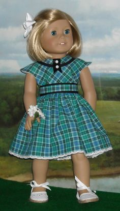 Blue Plaid Summer Dress for 18 inch Dolls