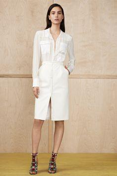 Altuzarra Resort, white shirt, white open pencil skirt, sandal heels, pockets
