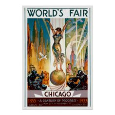 Chicago World's Fair 1933 and 1934 ~ Vintage Travel Poster