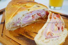 Pão recheado com presunto e queijo | Receitas e Temperos
