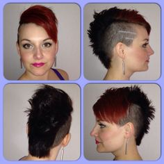 Fresh cut!! Color and cut: Me myself and I ;P #hair #hairstyle #haircolor #redhawk #blackhawk #mohawk #girlhawk #girlswithmohawk #sidecut #undercut