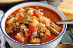 Nothing beats my Mom's slow-cooked vegetable soup. It's a labor of love that starts with stew meat in the slow cooker overnight and is finished the next day with tons of fresh veggies. As a…read Beef Soup Recipes, Vegetable Recipes, Herb Recipes, Homemade Vegetable Beef Soup, Frozen Vegetables, Veggies, Slow Cooked Meals, Soup And Salad, The Fresh