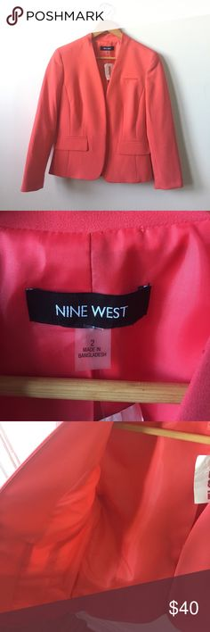 NWT Nine West coral blazer size 2 Nine West blazer. Bright coral pink. Size 2. NWT. Never worn. No buttons just one clasp on front. Faux pockets. Nine West Jackets & Coats Blazers