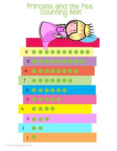 REMAKE: LINK IS BROKEN Princess and the Pea Counting Mat: Printable Math activity for Preschoolers and Toddlers