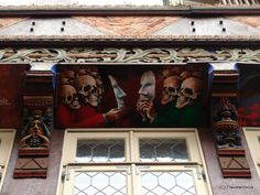 Contemporary soffit at the reconstructed Butcher's Guildhall in Hildesheim, Germany Saxony Anhalt, Rhineland Palatinate, Dance Of Death, Lower Saxony, North Rhine Westphalia, Famous Buildings, Bavaria, Contemporary Paintings, World War Ii