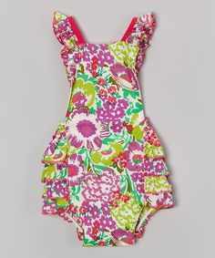 Look what I found on #zulily! Pink & Green Hawaiian Floral Bubble Romper - Infant #zulilyfinds