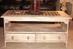 Coffee Table With Two Drawers-Country Rustic Primitive Furniture