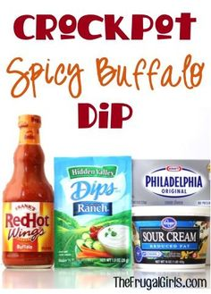 Planning a party? This Easy Crockpot Recipe is such a party-pleaser: Crockpot Spicy Buffalo Dip! This Delicious Dip is so easy to make, and full of spice and zing! Let the party begin! Buffalo Dip, Sauce Buffalo, Buffalo Ranch, Buffalo Chicken, Ranch Chicken, Slow Cooker Dips, Crock Pot Slow Cooker, Cooker Recipes, Crockpot Meals