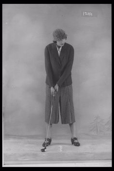 Glass Half Plate  Image of a woman modelling golfing wear for the retailer Marshall & Snelgrove. Published in Illustrated Sporting & Dramatic News.    Maker:  Bassano Studio  Production Date:  1933-09-22