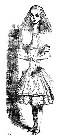 Proportion. This illustration from 'Alice in Wonderland' by John Tenniel is an example of proportion failed! Proportion in art is the size relationship of parts to the entire whole. While eating the tiny cake may have done this particular indignity to Alice (large head, tiny feet, elongated torso), Lewis Carrol was nonetheless critical of Tenniel's work for what he maintained was a consistent lack of proportion in Alice across all the drawings.