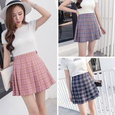 Students high waist plaid pleated skirt AD-0003